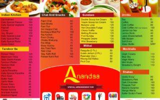 Menu Design – Ananda Sweets
